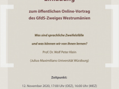 Online public lecture of the Western Romanian Branch of the Society for the German Language (GfdS)
